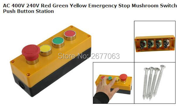 цена на AC 400V 240V Red Green Yellow Emergency Stop Mushroom Switch Push Button Station