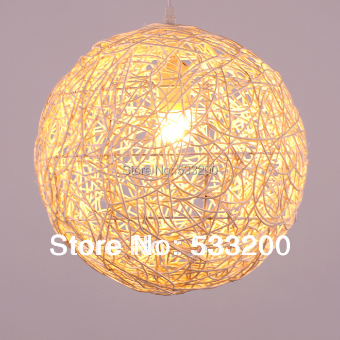 Brown rattan ceiling light shade energywarden 300mm diameter modern living room rustic hand woven wicker ball mozeypictures Gallery