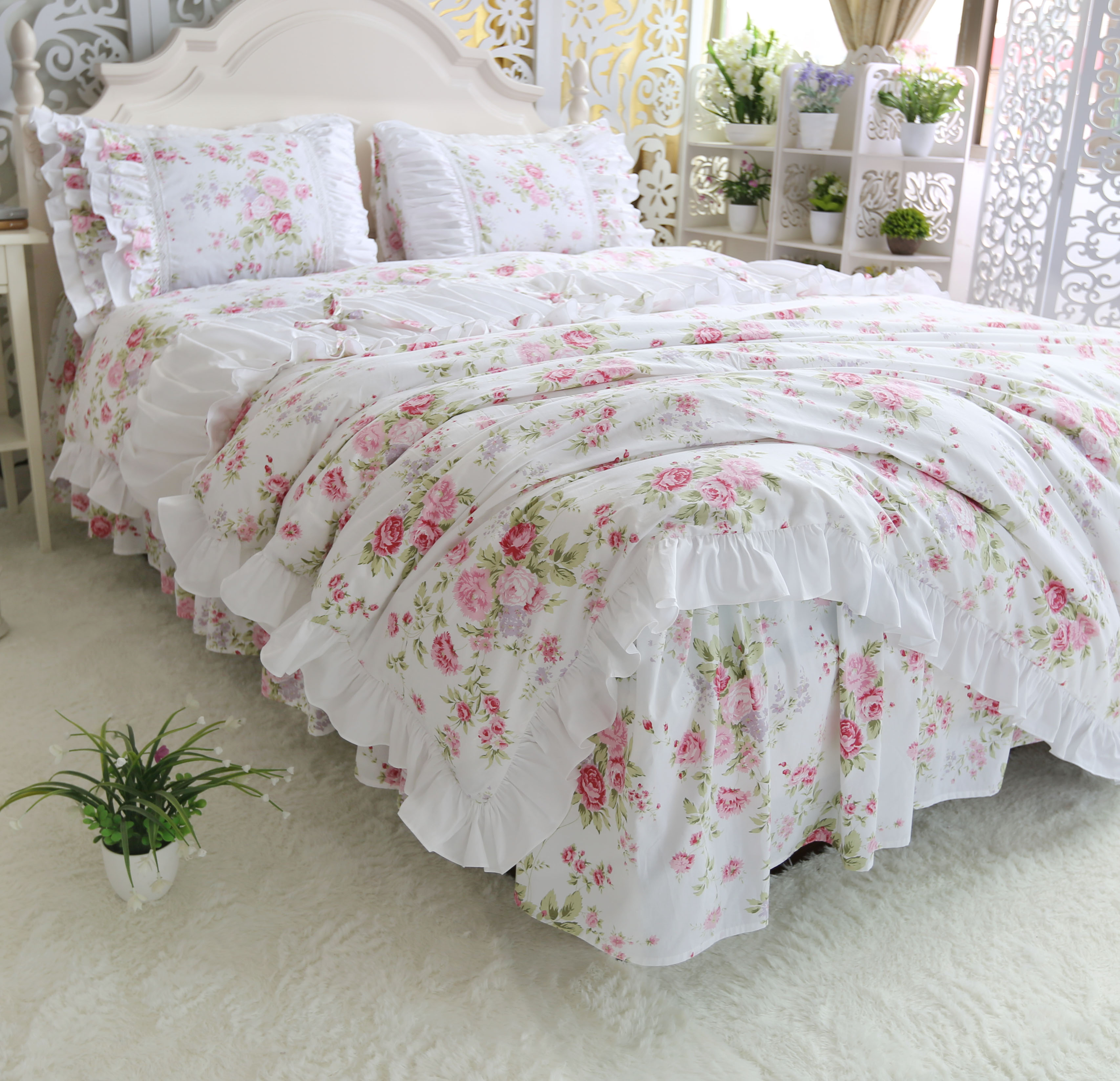 Cotton bedding set twill princess wind ruffled quilt cover pillowcase plant flower print bed spreadCotton bedding set twill princess wind ruffled quilt cover pillowcase plant flower print bed spread