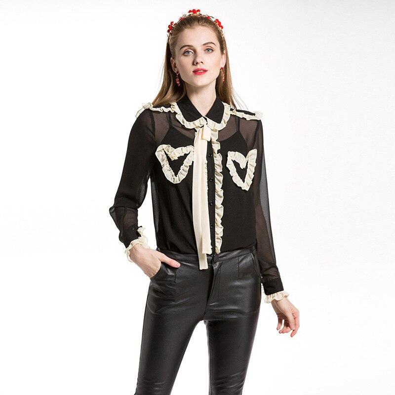 2019 été nouveau femmes Vintage piste en mousseline de soie chemise femme deux pièces col claudine Blouse transparente voir à travers les hauts