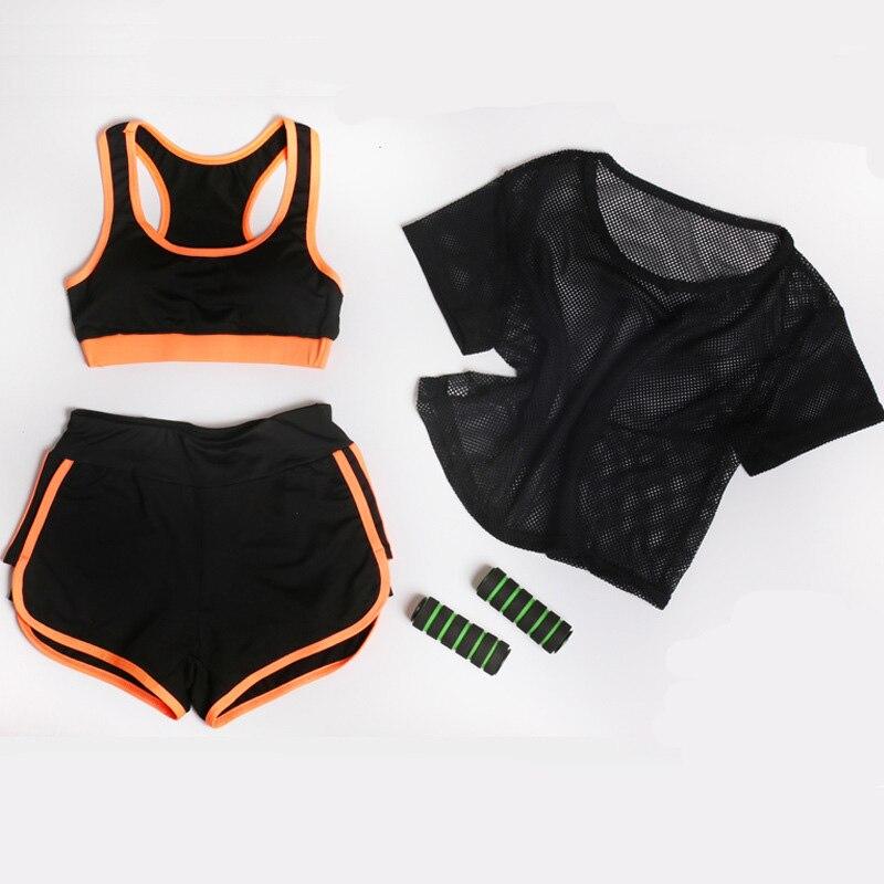 UMLIFE Üç Parça Qadın Yoga Kostyum Mesh T-shirt + Yoga Bra + - İdman geyimləri və aksesuarları - Fotoqrafiya 4