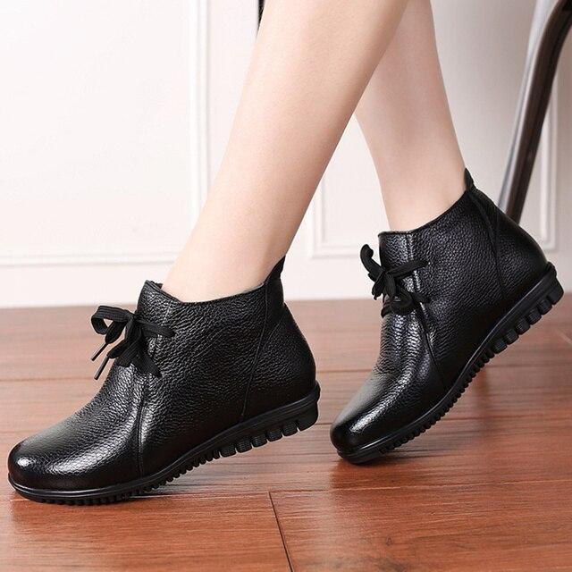 AARDIMI Botines cálidos de piel auténtica para Mujer, botas clásicas con cuña, para invierno