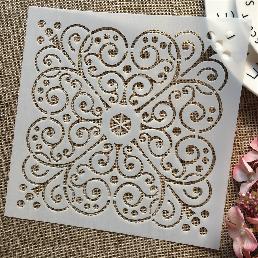 1Pcs 8*8inch Flower Heart Frame DIY Layering Stencils Painting Scrapbook Coloring Embossing Album Decorative Template