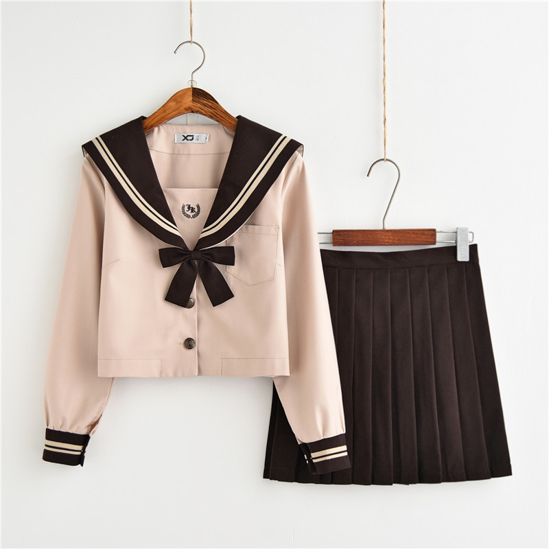 Japanese JK Uniform, Milk Tea Sailor Suit, Long Sleeve Student, College Wind, School Uniform Suit, Autumn And Winter Uniform