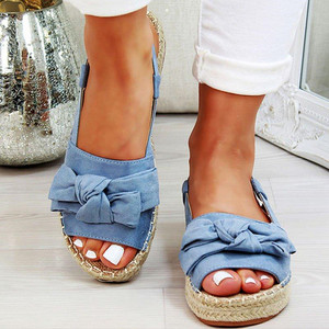 Image 2 - גדול גודל נשים סנדלי סנדלי בד קיץ שטוח נשים נעלי בית עם פלטפורמת אופנה נעלי נשים עם אבזם אבזם ציוץ L10