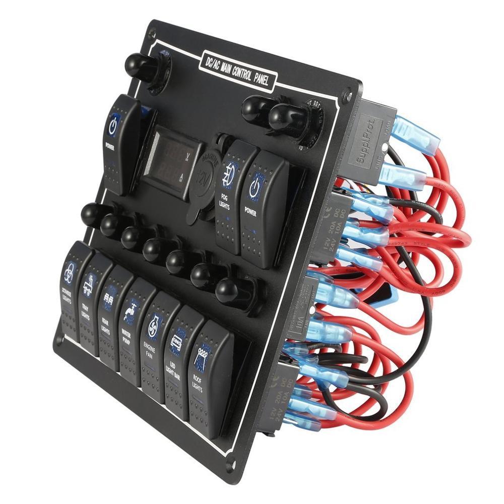 Выход постоянного тока 15 А, 10 каналов, водонепроницаемая автомобильная лодка, морской светодиод, переключатель переменного/постоянного ток...