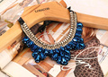 2015 fashion female collar necklace blue crystal flower gold beads statement necklace 70cm