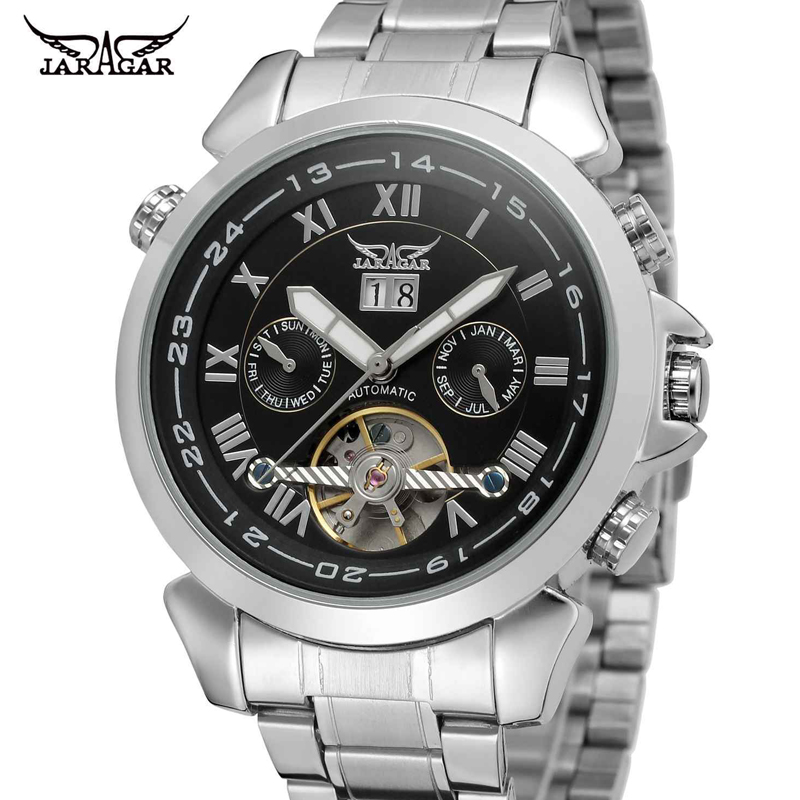 JARAGAR Brand Uhr Business 24 Hour Calendar Week Month Chronograph Tourbillon Dial Clock Stainless Steel Men Mechanical Watches jaragar top brand tourbillon automatic mechanical diamond dial clock wtaches men classic luxury business leather wristwatch uhr