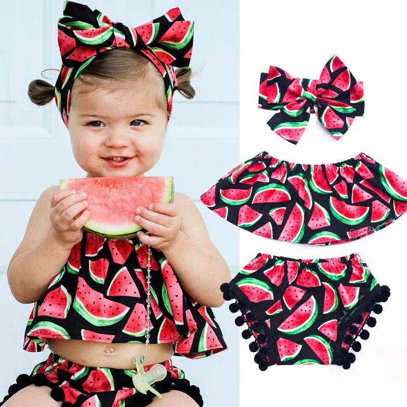 Watermelon top + tassel short pants + hairband wholesale price kids girls clothing printed 3pcs children baby girls clothes set