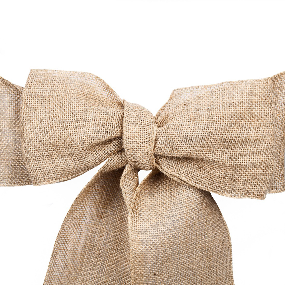 20pcs 7 x108 Naturally Elegant Burlap Chair Sashes Jute Chair Tie Bow for Rustic Wedding Decoration