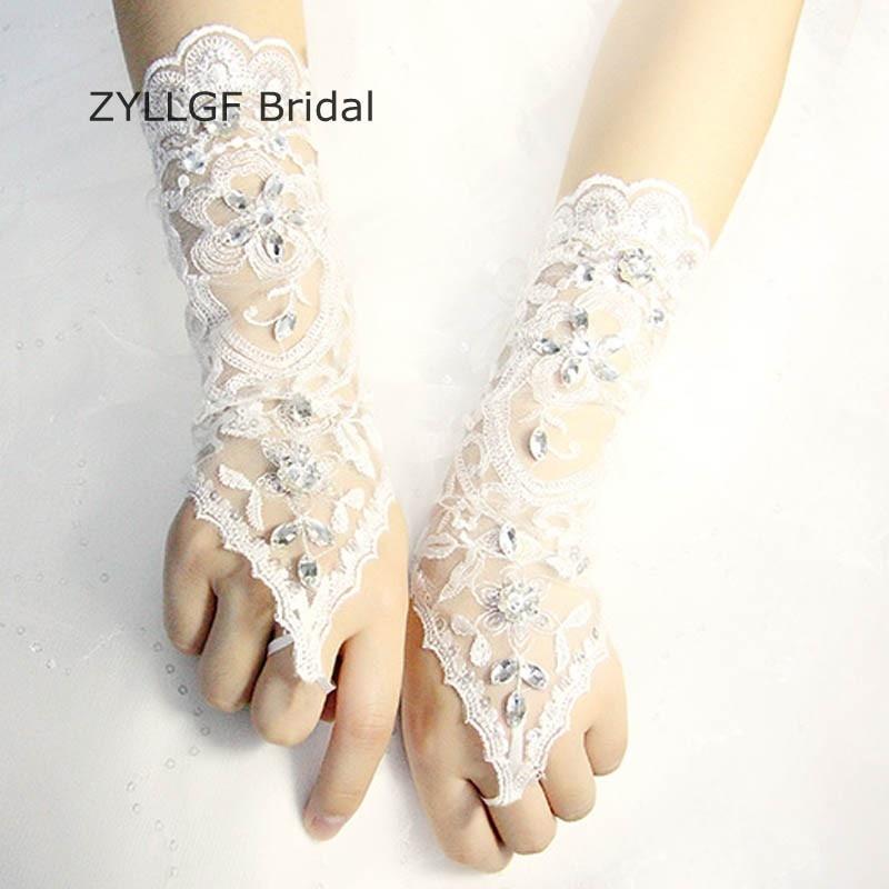 ZYLLGF Bridal Lace Bridal Gloves Crystal Beaded Des Gants Mariage Opera Length Wedding Gloves Fingerless With Pearls BG20