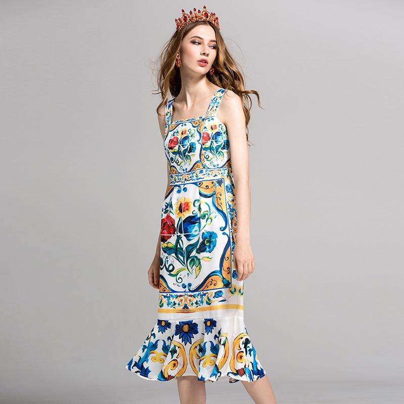Haute qualité 2018 piste de bal designer femmes robe d'été sexy mode Spaghetti sangle impression trompette/sirène robes