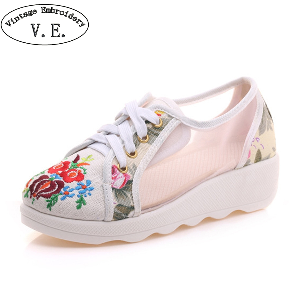 Chinese Women's Summer Shoes Flower Embroidered Mesh Walking Shoes Breathable Platform Women Casual Shoes Zapatos Mujer instantarts women flats emoji face smile pattern summer air mesh beach flat shoes for youth girls mujer casual light sneakers