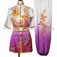 Chinesischen wushu einheitliche kleidung Kungfu kampfsport anzug taolu Drachen stickerei kostüm für männer frauen kinder kinder junge mädchen