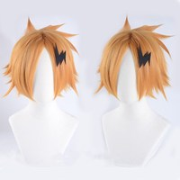 Anime My Hero Academia Kaminari Denki Boku no Hero Academia Golden Color Wig Cosplay Hair Halloween Role Play+ Flash Accessory