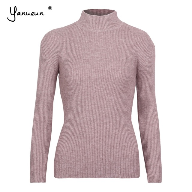 cc5083ea64c Yanueun Spring Autumn Winter Women Pullovers Sweater Knit Elasticity Basic  Jumpers Fashion Slim Turtleneck Classic Sweaters