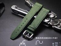 20 21mm high quality Handmade Army Green Luxury brands Watchbands Calfskin Watch Strap Wristband For IWC Brand watch accessories