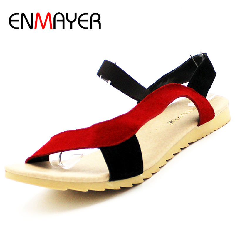 ENMAYE New Fashion Flats Heel Women Sandals Shallow Sandal Ladies Mix Colors High Quality Wholesale Low Price Causal Shoes Women new women sandals low heel wedges summer casual single shoes woman sandal fashion soft sandals free shipping