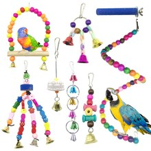 Bird Parrot Toys For Cages,Colorful Chewing Hanging Swing Pet Bird Toy With Bells,Wooden Ladder Hammock,Rope Perch,Birdcage St(China)