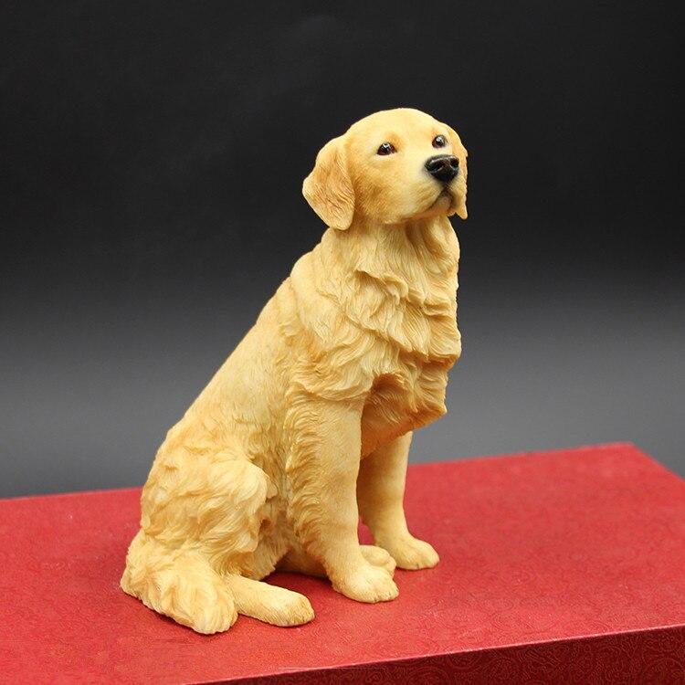 Golden Retriever Figure sitting dog simulation animal model resin dog figurine crafts decoration home decors ornaments