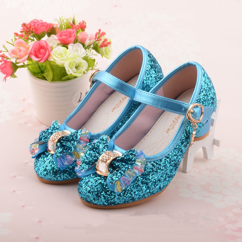 2017 Children Single Shoes Girls High Heels Hot Sale New Children Baby Pink Gold SIlver shoes Student Leather Flower size 26-37