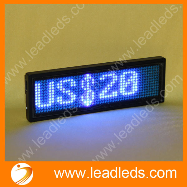 5sets/lot Led Scrolling Pin Badge With Single Blue Display Color
