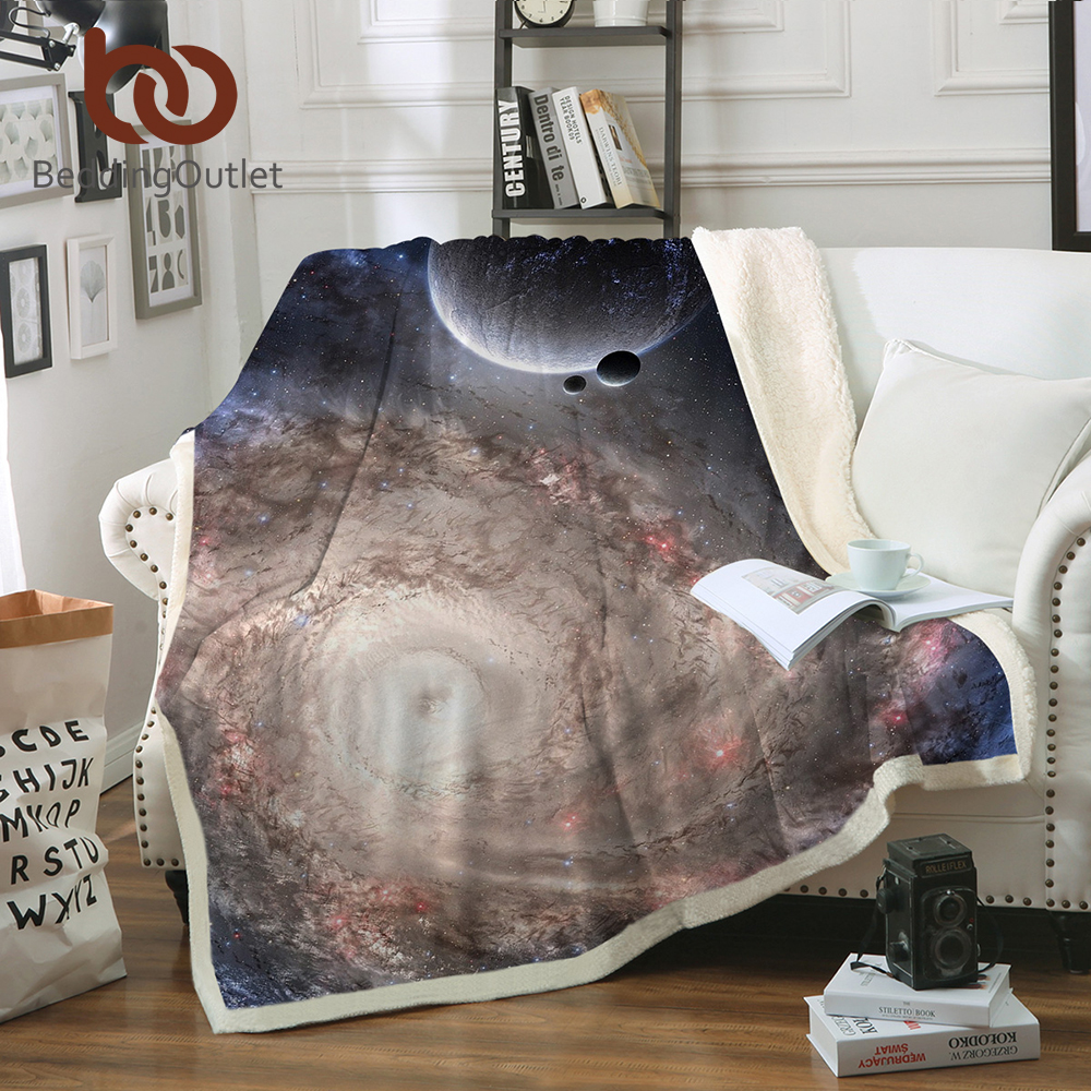 Us 19 74 40 Off Beddingoutlet Galaxy Blanket Microfiber Sherpa Throw On Bed Outer E Thin Quilt Manta Universe Bedding In