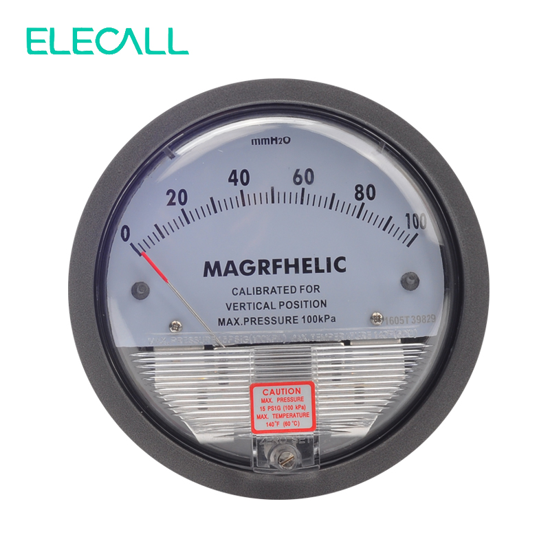 ELECALL High Quality TE2000 0-100mm Micro Differential Pressure Gauge High Precision 1/8