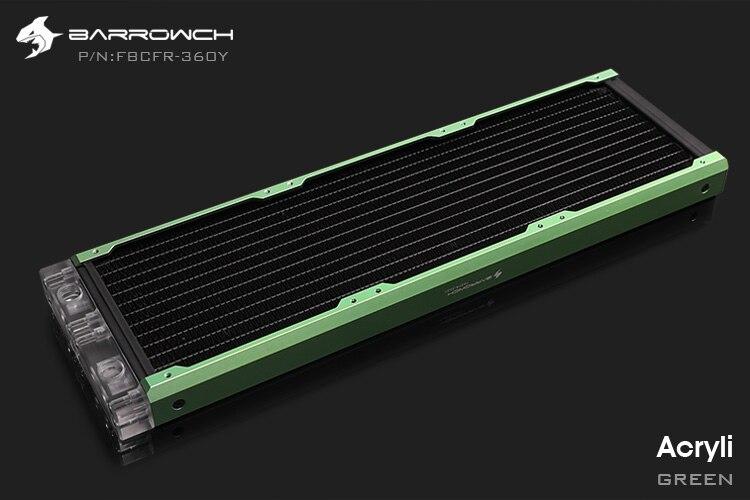 Barrowch FBCFR-360, хамелеон рыбы модульные 360 мм радиаторы, акрил/Пом съемные радиаторы, подходит для 120 мм вентиляторов - Цвет лезвия: Acrylic-Green