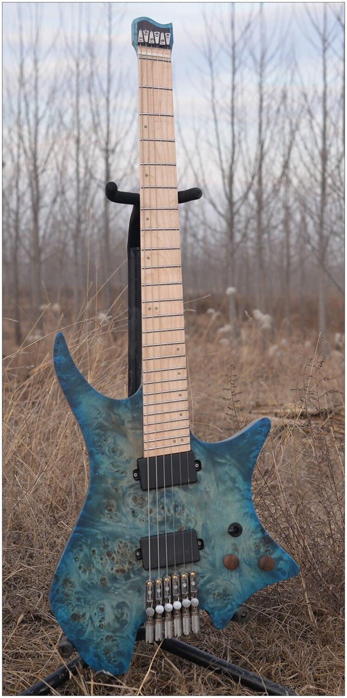 2018 NK Sans Tête guitare Attisé Frettes guitare Électrique Bleu/Noir Couleur Quilted Maple top Flamme manche érable Guitare livraison gratuite