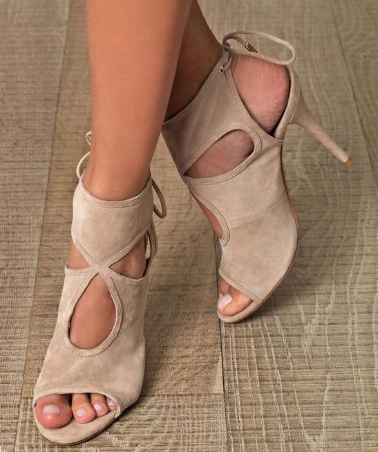 Photo réelle de haute qualité Beige noir chose daim sandales découpées Peep Toe Back Tie-up mariage fête robe chaussures femme taille