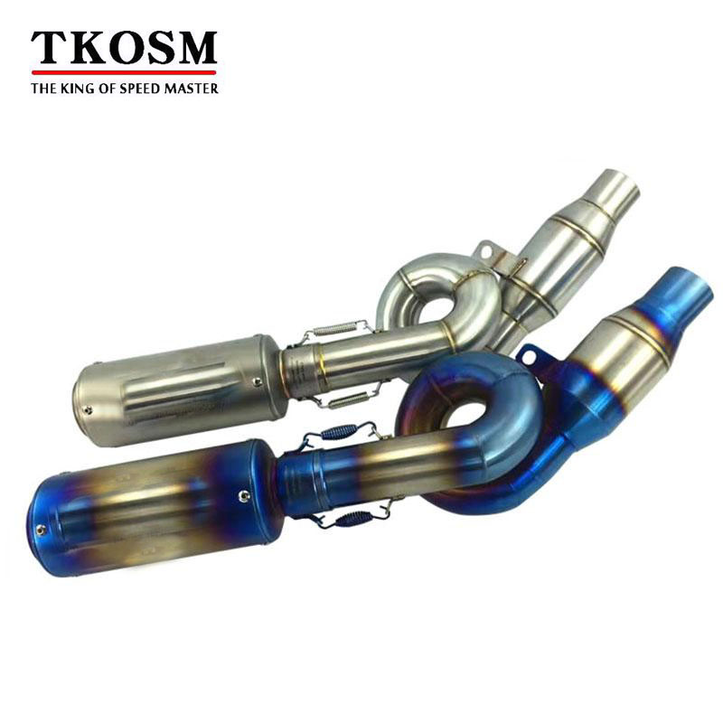 TKOSM Laser SC Motorcycle Z800 Exhaust System Stainless Steel Motorbike Muffler and Middle Pipe Escape for Kawasaki Z800