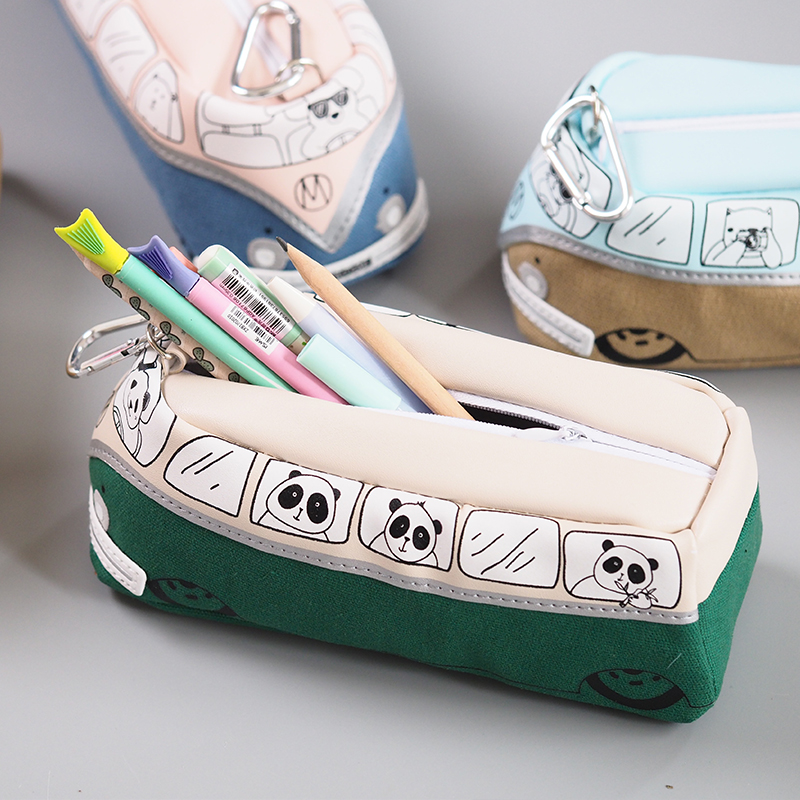 Large Capacity Bus Shape Canvas Pencil Case Zipper School Stationery Children Pencil Bag Case Storage 195*75*62mm PL 72 holes canvas pencil case folded brush holder pouch case with zipper storage pockets bag gifts school stationery art supplies