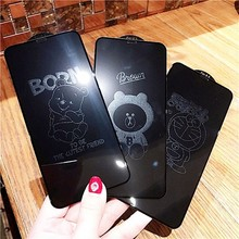 Cartoon Mickey Tempered Glass Film For iPhone 7 8 Plus XS X Xs MAX Cute 6D Screen Invisible Glitter Graphic Tempered Glass Film