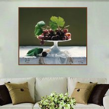 A Plate of Grapes Still Life Artwork Cuadros Home Decoration Oil Canvas Painting for Living Room Wall Art Print Picture Poster