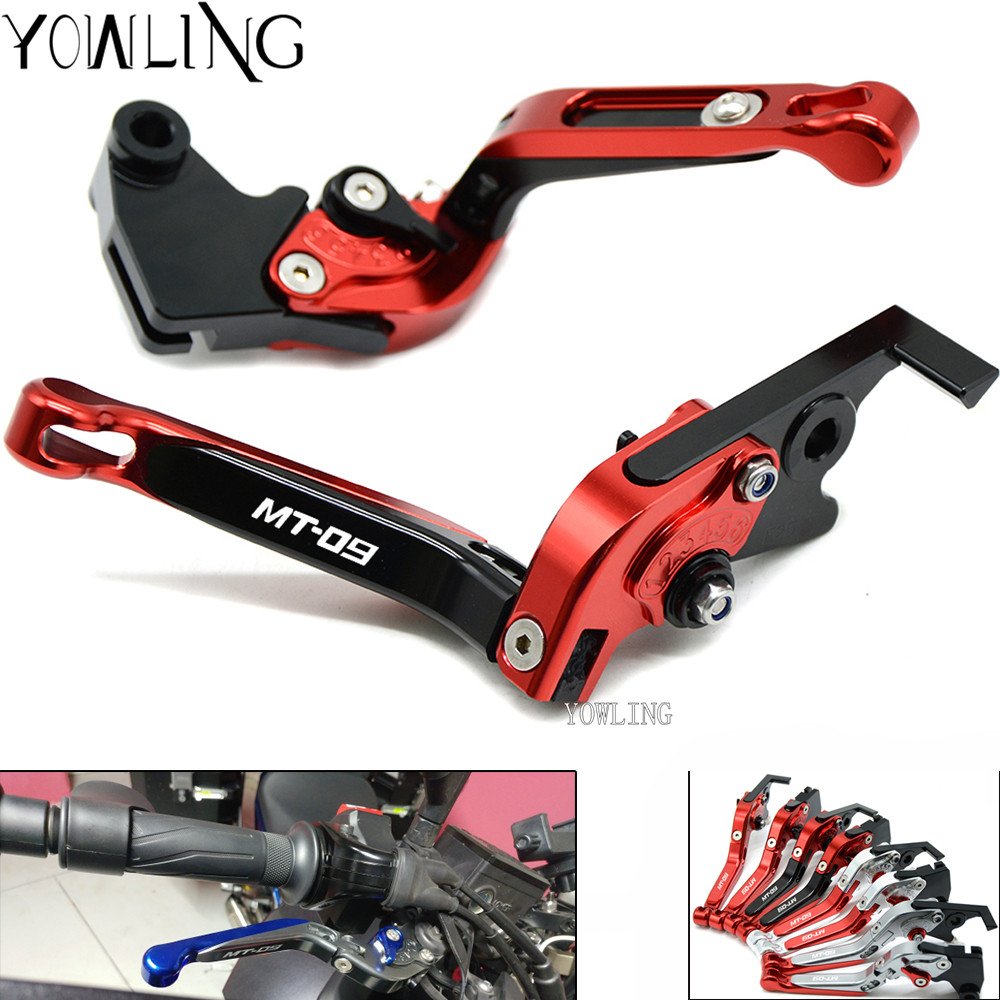 For YAMAHA MT 09 MT09 MT-09 Tracer FZ-09 FJ-09 2014-2017 Motorcycle Accessories Folding Extendable Brake Clutch Lever LOGO MT-09 motorcycle accessories brake line clamp red for yamaha t max 530 tmax 500 mt 01 mt 07 mt 09 mt 09 tracer r1 r6 r125