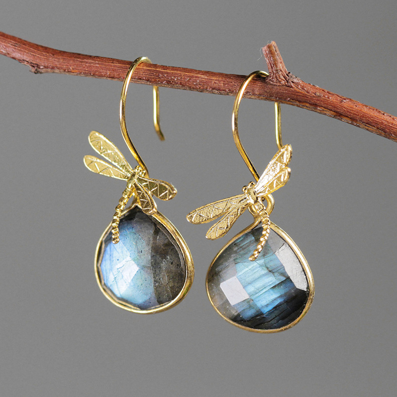 original dragonfly labradorite earrings Female 925 sterling silver earrings Small and pure and fresh with gem earrings