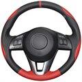XuJi Black Red Genuine Leather Car Steering Wheel Cover for Mazda CX-5 CX5 Atenza 2014 New Mazda 3 CX-3 2016 Scion iA 2016
