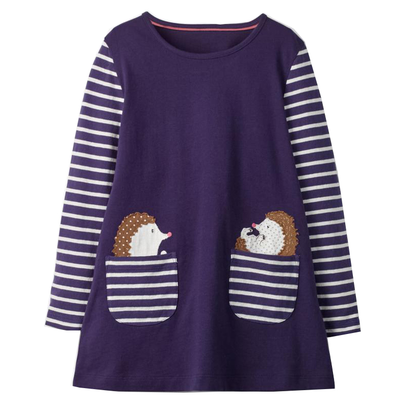 Jumping Meters Girls Unicorn Dress Long Sleeve Princess Dress with Animal Applique Autumn Baby Girls Dresses Kids Clothes 1-6T Платье