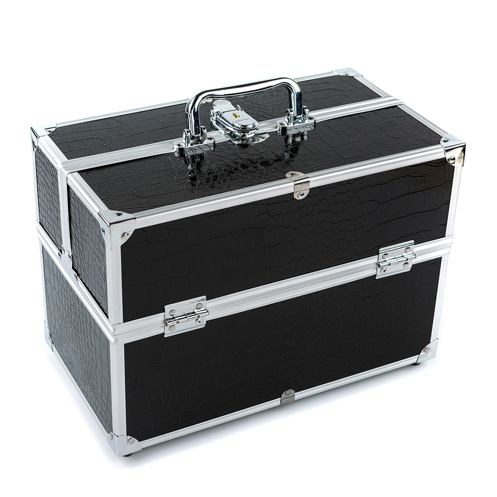 Black 3 layer Lockable Cosmetic Organizer Box Professional Makeup Case for Make Up Tools Containing Storage