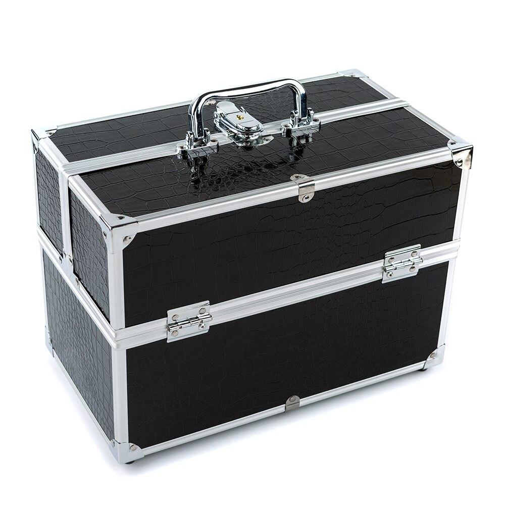 black 3 layer lockable cosmetic organizer box professional