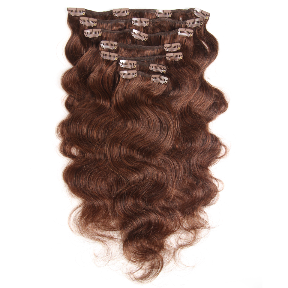 Fashion Plus Clip In Human Hair Extensions Machine Made Remy Human Hair Clip In Extensions Full Head 7Pcs/Set 120g Body Wave