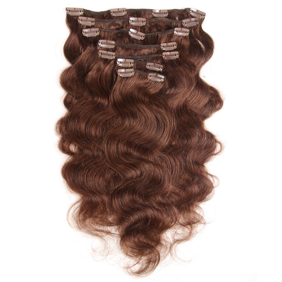 Fashion Plus Clip In Human Hair Extensions Machine Made Remy Human Hair Clip In Extensions Full Head 7Pcs/Set 120g Body Wave