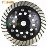7 180mm Diamond Spiral Turbo Grinding Cup Wheel Bore 16mm For Concrete Brick Grinding