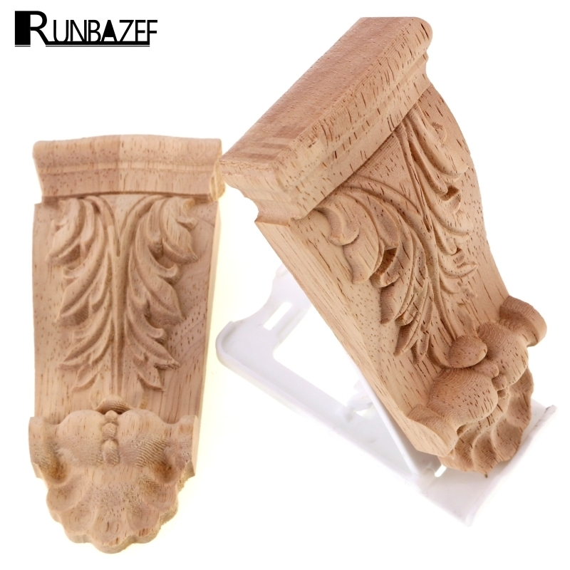 Runbazef Wood Appliques Flower Carving Decals Decorative Wooden Mouldings Cabinet Door Furniture