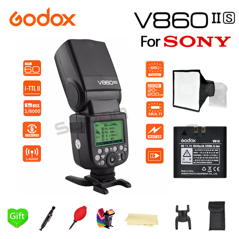 Paypal Accpect Godox V860II S HSS GN60 2 4G TTL HSS 1 8000s 2000 mAh Bateria Camera Flash Speedlite for Sony Camera in Flashes from Consumer Electronics