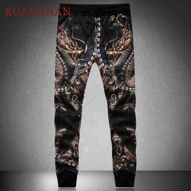KUANGNAN Trousers Men Pants Dragon-Printed-Pants Japanese Streetwear Chinese-Style New