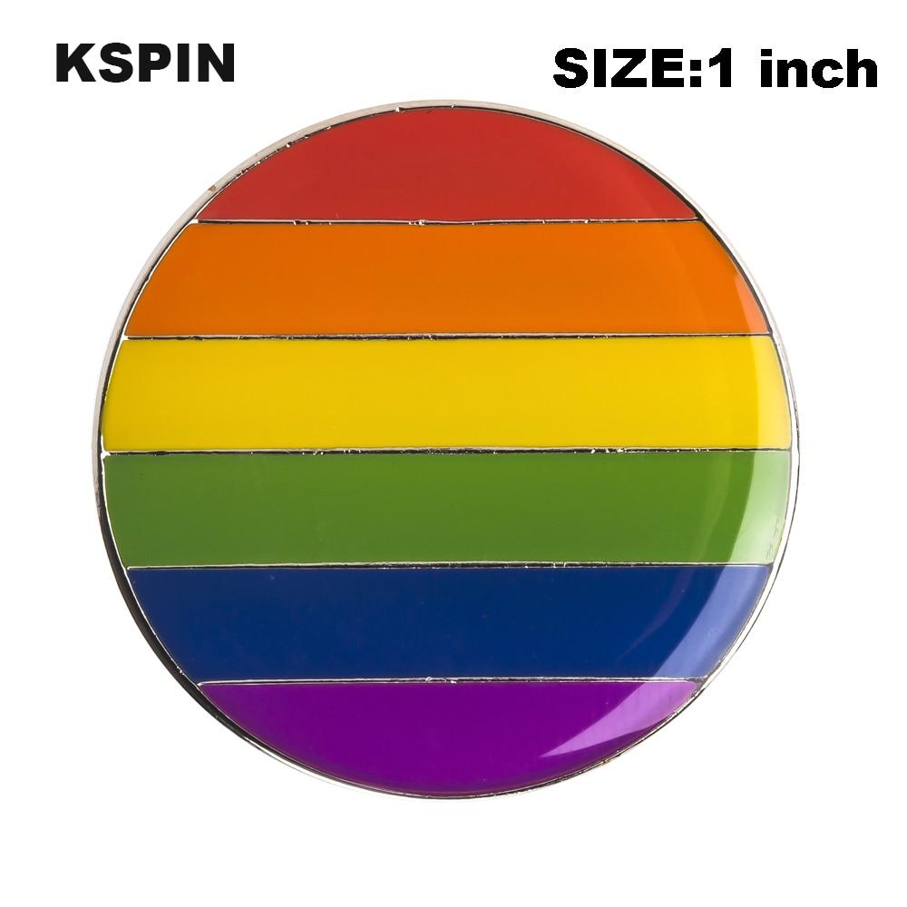 Gay Pride tęczowa flaga Rozet metalowa Chapas Metalicas szpilki ikona plecak broszka na prezent XY0309 w Identyfikatory od Dom i ogród na  Grupa 1