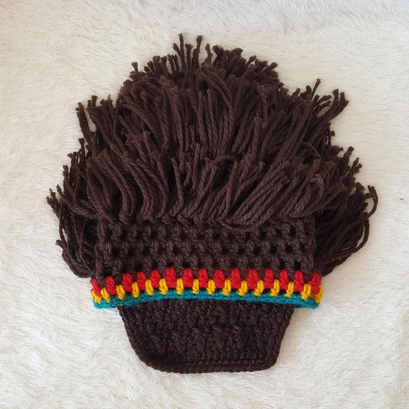 Maxmessy divertido peluca barba sombreros Hobo Mad científico Rasta Caveman  knit invierno cálido gorras hombres mujeres regalo del partido de Halloween  ... 34824c8cf28