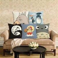 Estilo dos desenhos animados capa de almofada para casa decorativa totoro impresso lance travesseiro decoração da casa do carro linho algodão capa de almofada